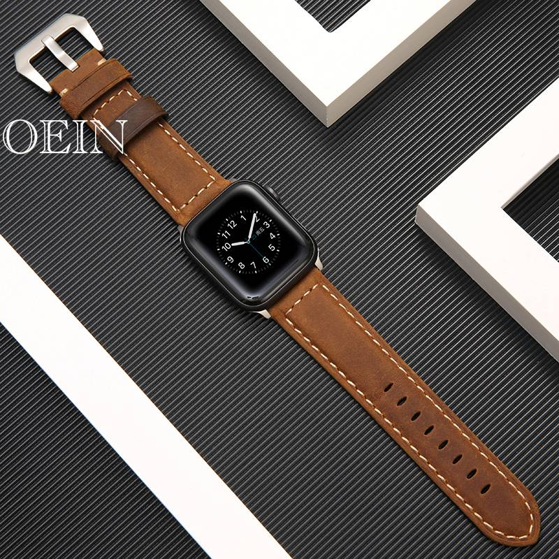 uxury Classic Cuff Bracelet Belt for Apple Watch 42mm 38mm Band Genuine Leather Strap for iWatch 40mm 44mm Band Series 5 4 3 2 image