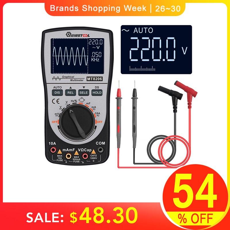 MUSTOOL Atualizado MT8206 2 em 1 Inteligente Multímetro Osciloscópio digital Current Voltage Tester com Gráfico de Barras Analógico 200k