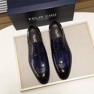 Image 4 - Erkekler Derby ayakkabı erkek siyah mavi Patent deri Patina el yapımı düğün elbisesi ayakkabı erkekler için Lace up resmi erkek resmi ayakkabı