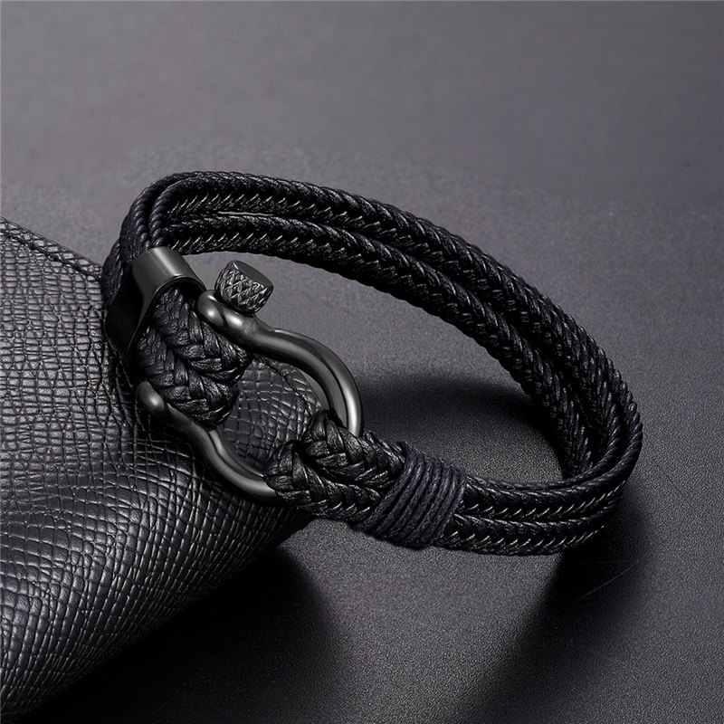 New Simple Fashion Bracelets Men Black Multiple Leather Bracelet Stainless Steel Male Bangles Wristband Jewelry Gifts Pulseira