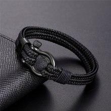 Pulseras sencillas de cuero negro para hombre, brazaletes de acero inoxidable, regalos de joyería