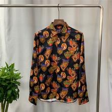 Europe style high quality Mens long sleeves Shirts Fashion print Men shirts A822