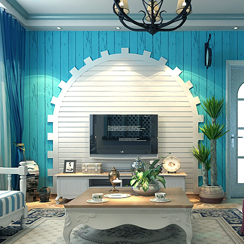 Blue Mediterranean Style Wood Grain Wallpaper Nonwoven Fabric Retro Nostalgic Living Room Television Background Wall Vertical St