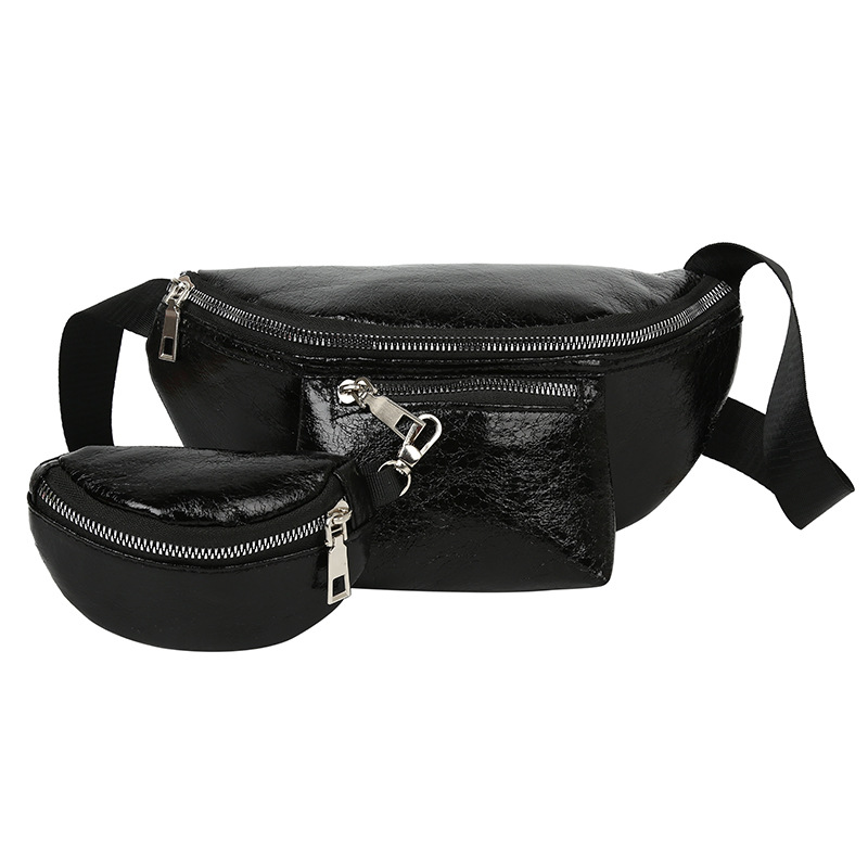 Designer Two Piece Waist Bag Wild Semicircle Laser Pu Soft Surface    Fanny Pack Bananka Women Satchel Belly Band Belt Bag
