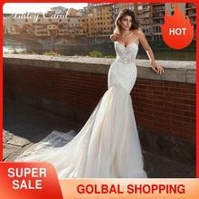 Ashley Carol vestido de boda sirena de encaje 2020 romántico vestido de novia encantador sin mangas apliques vestido de novia con la espalda descubierta