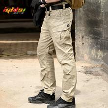 Men #8217 s SWAT Combat Military Tactical Pants Large Multi Pocket Army Cargo Pants Casual Cotton Security Bodyguard Long Trousers tanie tanio IGLDSI Mieszkanie Poliester spandex Kieszenie REGULAR 28 - 40 Pełnej długości LD011 W stylu Safari Midweight Suknem Zipper fly