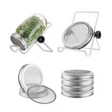4 Упаковка, нержавеющая сталь Sprouting крышка банки комплект с 2 пакетами Sprouting Стенды для широкого банка с завинчивающейся крышкой ситечко экран для проращивания семян