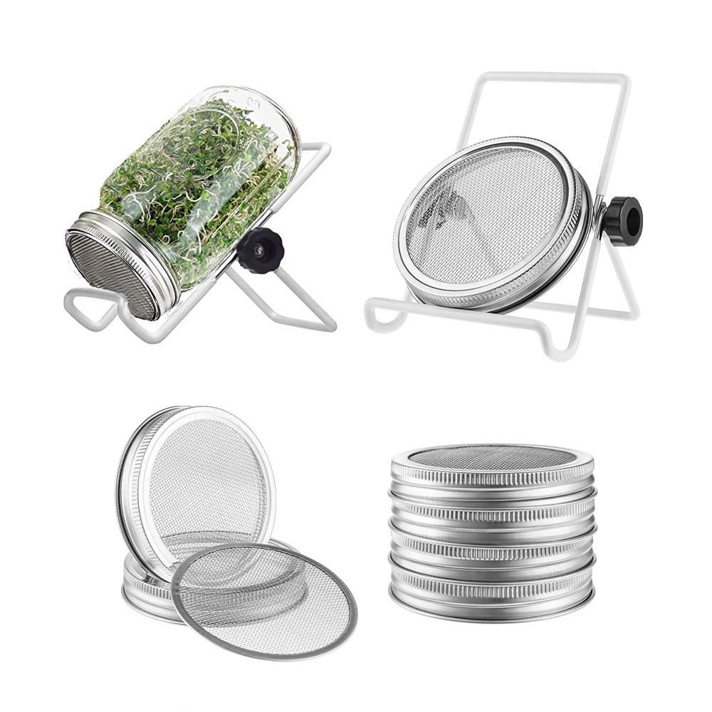 4Pack Stainless Steel Sprouting Jar Lid Kit With 2Pack Sprouting Stands For Wide Mason Jars Strainer Screen For Seed Sprouting