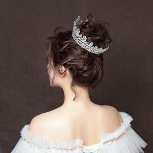Image 4 - FORSEVEN Full Circle Rhinestones Bride Tiaras Queen Princess Pageant Diadem Crown de Noiva Wedding Hair Jewelry Accessories