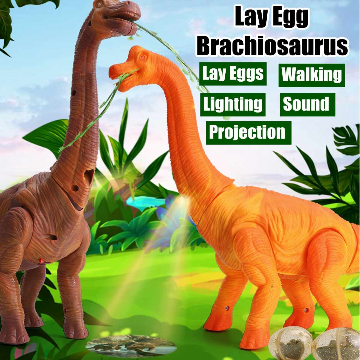Electric Brachiosaurus Dinosaur With Action Figure Lamplight Drop Lay Eggs Light Sound Dinosaur Model Educational Toy Gifts