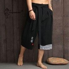Традиционное японское кимоно брюки для мужчин азиатская одежда банные Брюки повседневные свободные мужские японский стиль юката брюки льняные укороченные брюки