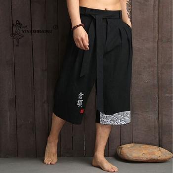 Japońskie Kimono tradycyjne spodnie męskie azjatyckie ubrania kąpielowe spodnie dorywczo luźne męskie spodnie w stylu japońskim Yukata lniane przycięte spodnie tanie i dobre opinie YI NA SHENG WU Linen YLED28197 Leisure Straight type Cropped trousers Mid waist Belt Tether closure ordinary flax 80 ( )