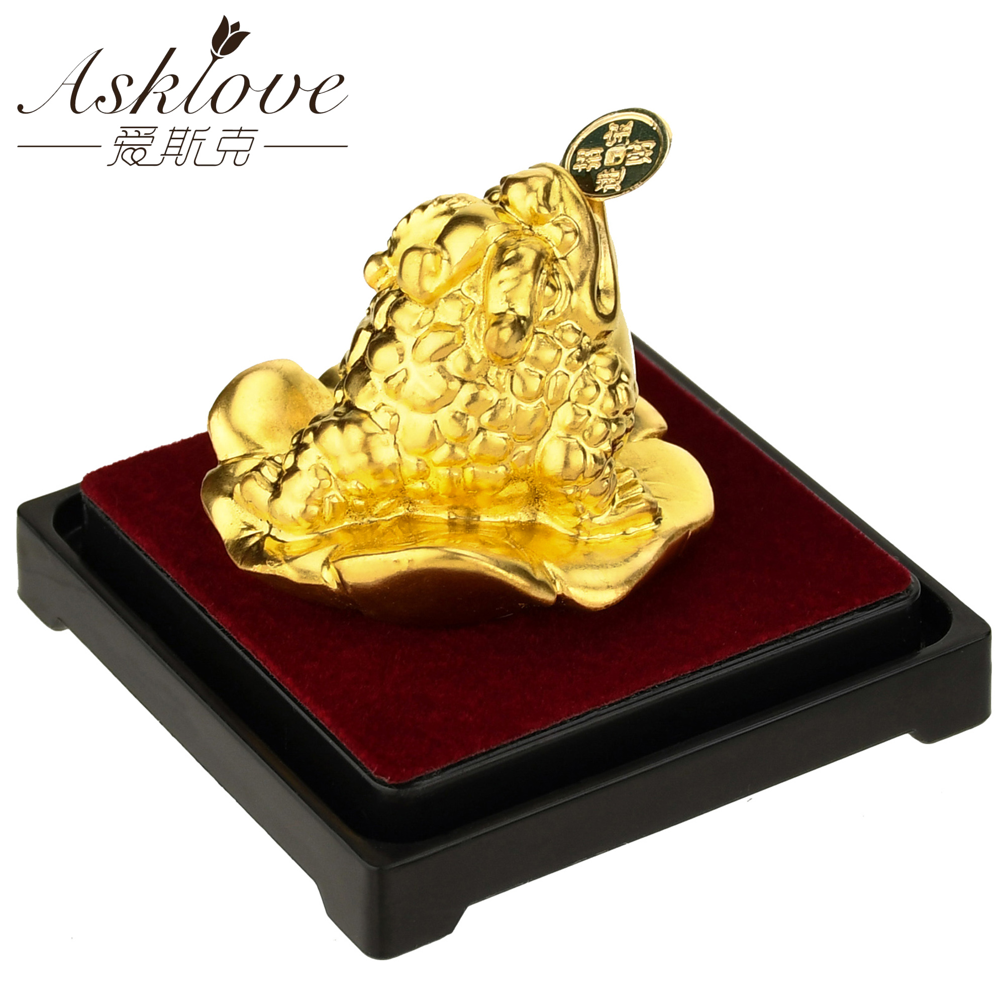 FengShui Toad Decoration Crafts Money Fortune Wealth Chinese Gold Frog Toad Coin Desktop Ornaments Lucky Gift Office Home Decor(China)