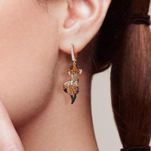 Image 5 - SANTUZZA Silver Gold Fish Earrings For Women 925 Sterling Silver Dangle Earrings Cubic Zirconia  brincos Jewelry