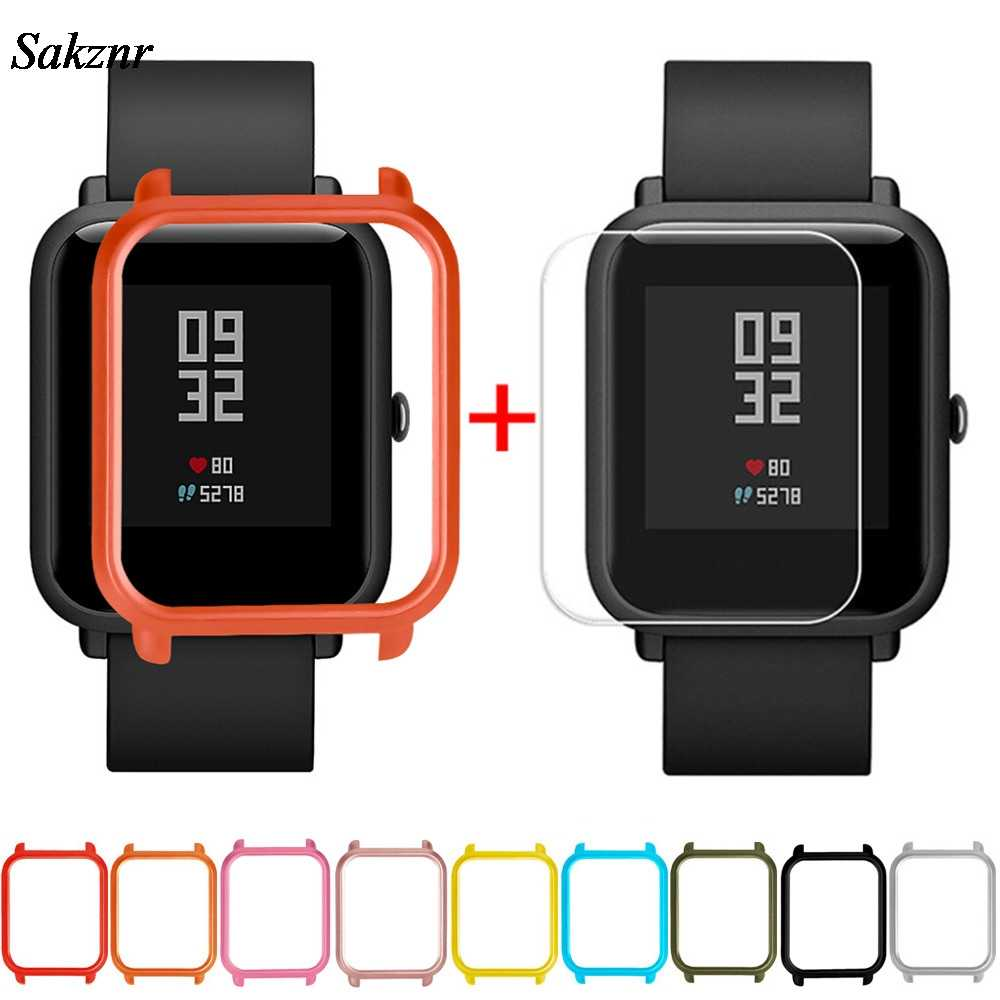 SAKZNR 1Pc Case Cover Shell For Xiaomi Huami Amazfit Bip Youth Watch With Screen Protector Smart Watch Protector Accessories
