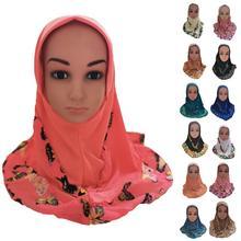 1 ワンピースキッズガールズドレススカーフヒジャーブアミイスラム教徒イスラムヒジャーブショールアラブスカーフラップターバンプリントパッチワークヘッドラップ新