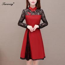 New Arrival Spring elegant O-neck Three Quarter Sleeve Mesh Embroidery hollow out Dress