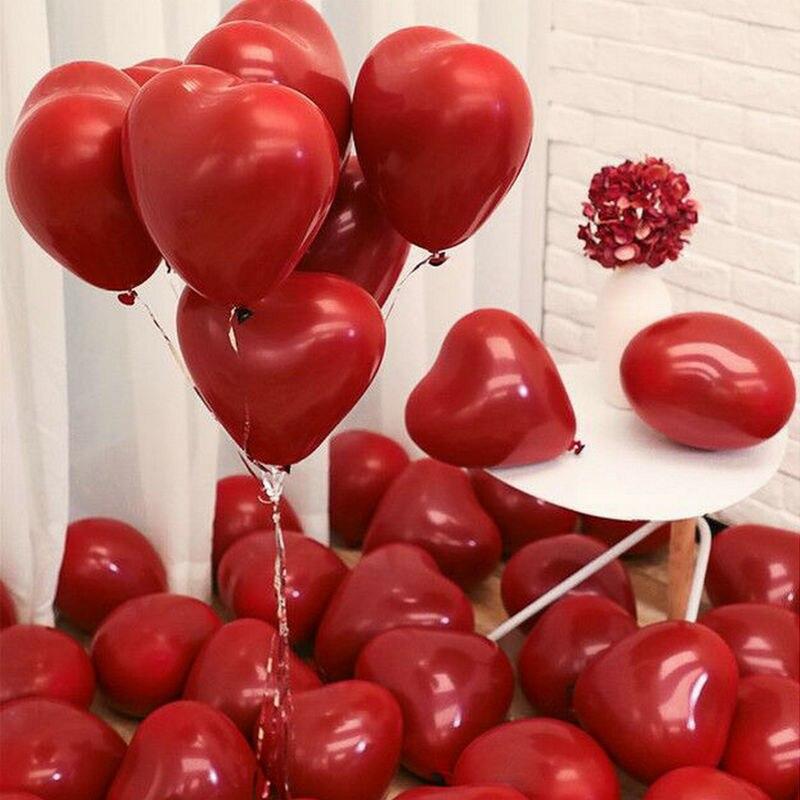 10 pcs vermelho rosa balões 10 Polegada amor coração látex balões casamento balão de hélio dia dos namorados festa de aniversário balões infláveis