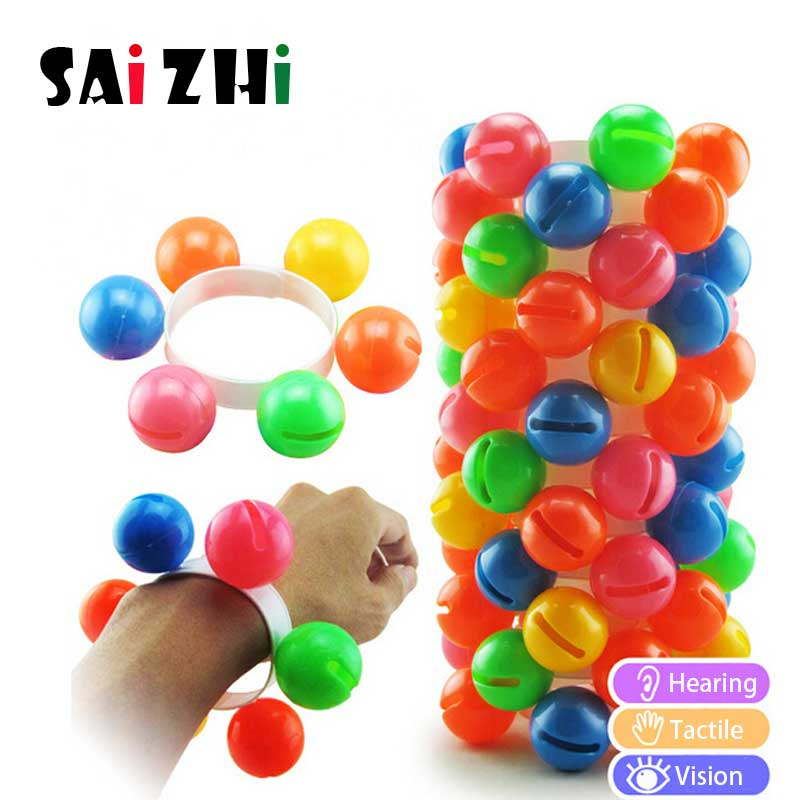 Saizhi Cute Colorful Kids Wristbell Rattles Early Educational Toys Dance Musical Instrument Performance Percussion Props SZ33h7