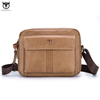 BULL CAPTAIN Brand Genuine Leather Casual Men's Messenger Bag Men Crossbody Shoulder Bags Male Cowhide Ipad Travel Zipper Pack
