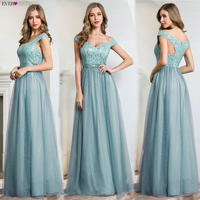 Elegant Blue Evening Dresses Ever Pretty EP00774DB A-Line V-Neck Sequined Sleeveless Tulle Party Gowns Vestido Largo Elegante 4