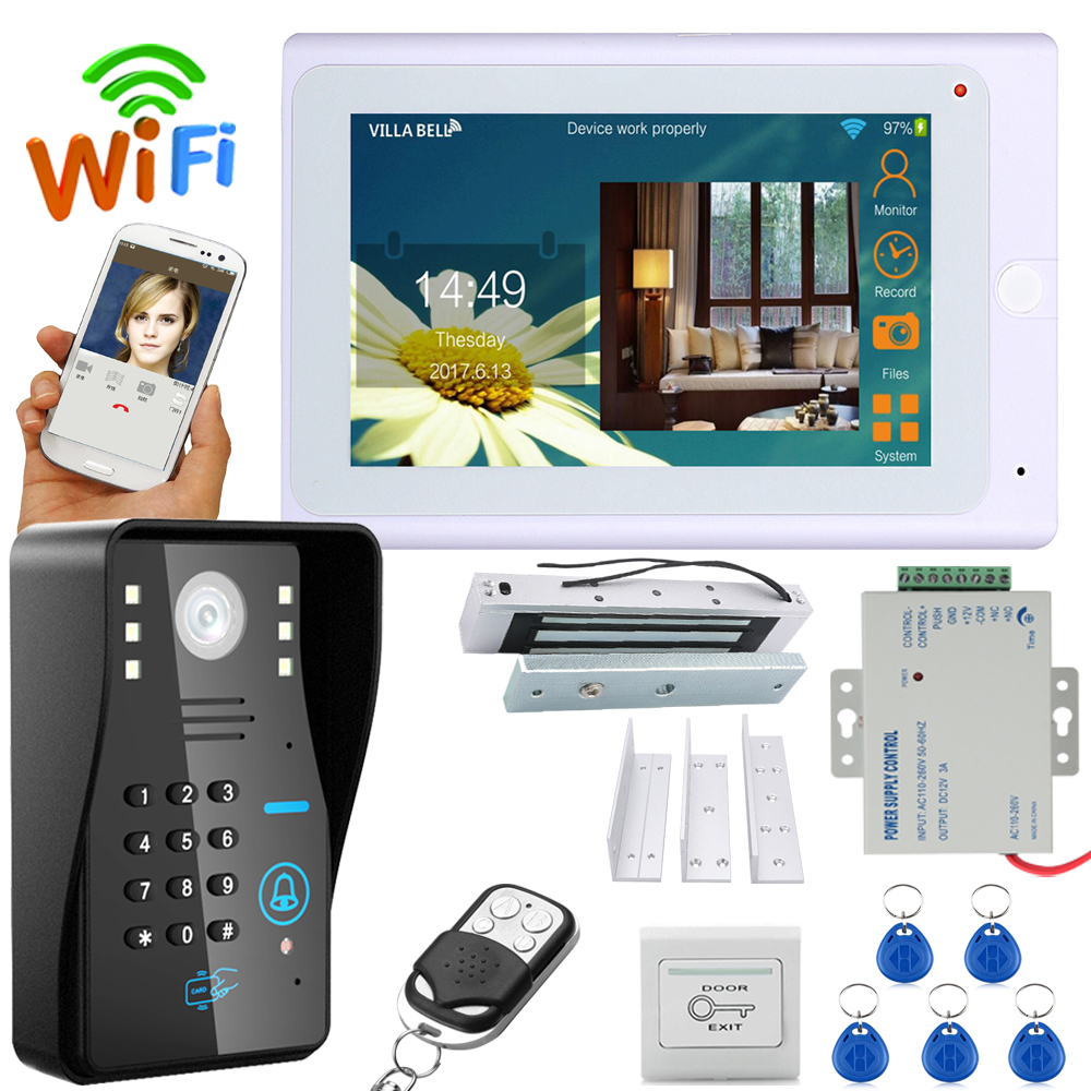 "7"" TFT Wireless Wifi RFID  Video Door Phone Doorbell Intercom System With Electric Magnetic Door Lock 180KG+ 1000TVL Camera"