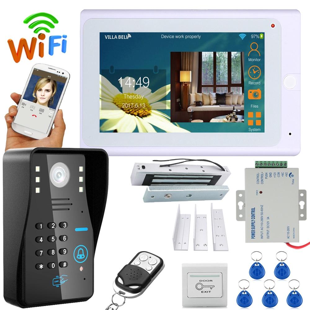 """7"""" TFT Wireless Wifi RFID  Video Door Phone Doorbell Intercom System With Electric Magnetic Door Lock 180KG+ 1000TVL Camera"""