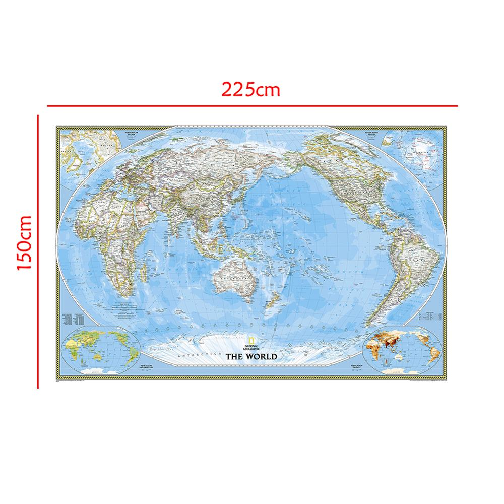 Non-woven Waterproof World Map 150x225cm Mercator Projection World Map Without Flag For Trip And Travel