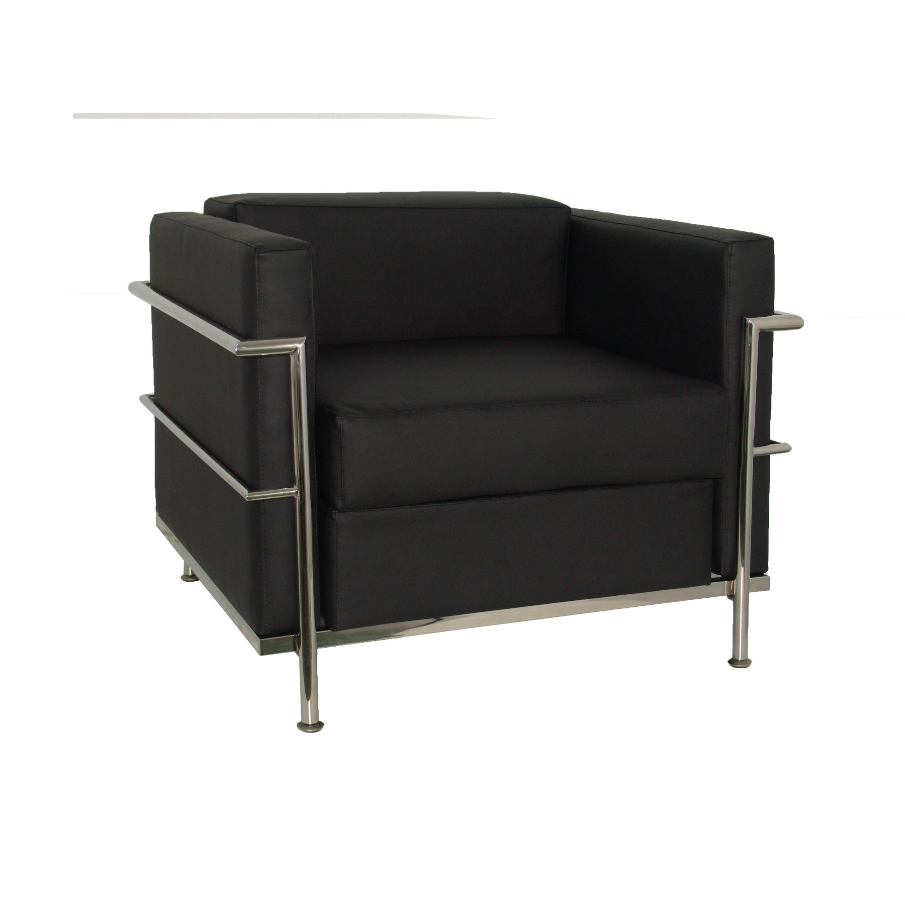 Sofa De Modulo/waiting One Square Upholstery In Similpiel Color Black TAPHOLE AND CURLED Model Nerpio
