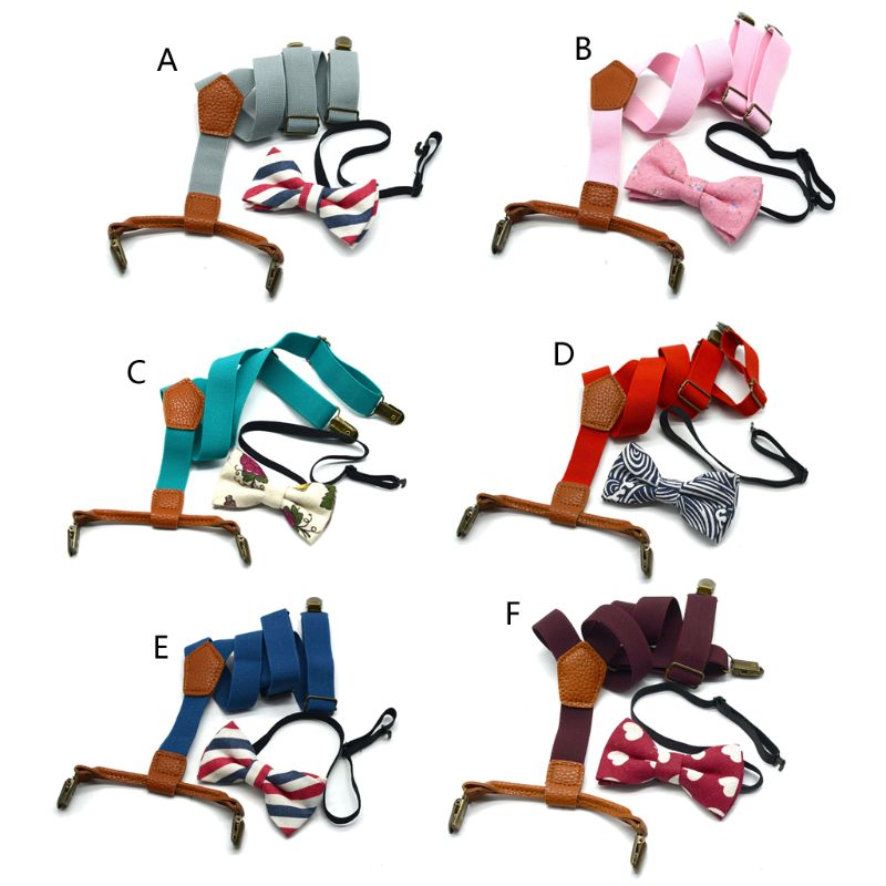 2020 New Baby Boy's Kids Bow Ties Sets Baby Boys Wedding Matching Braces Suspenders and Luxury Bow Tie Set