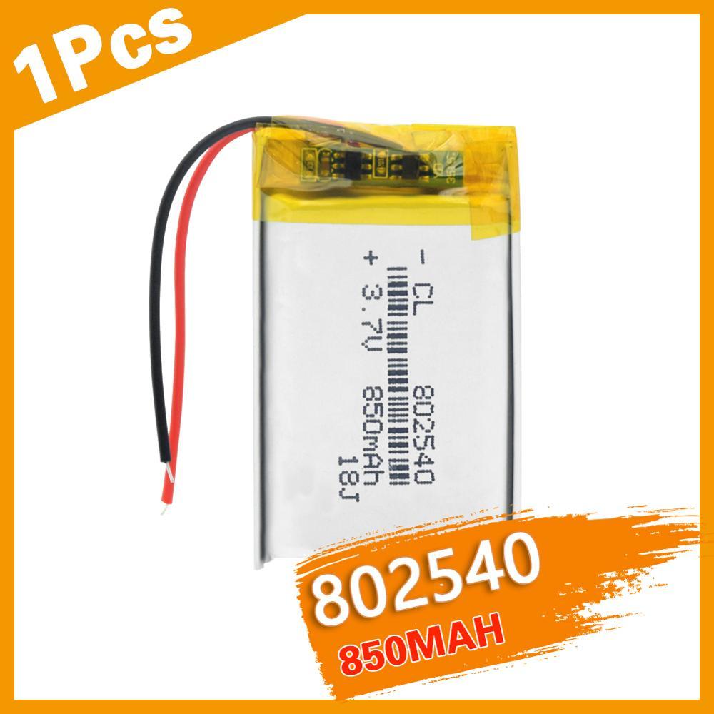 Литий-ионные аккумуляторы 3,7 В, 3, 7 в, 3,7 в, полимерная литиевая батарея 802540, 082540, 850 мАч для GPS, MP3, MP4, MP5 светодиодный светодиодсветильник ка, Рад...