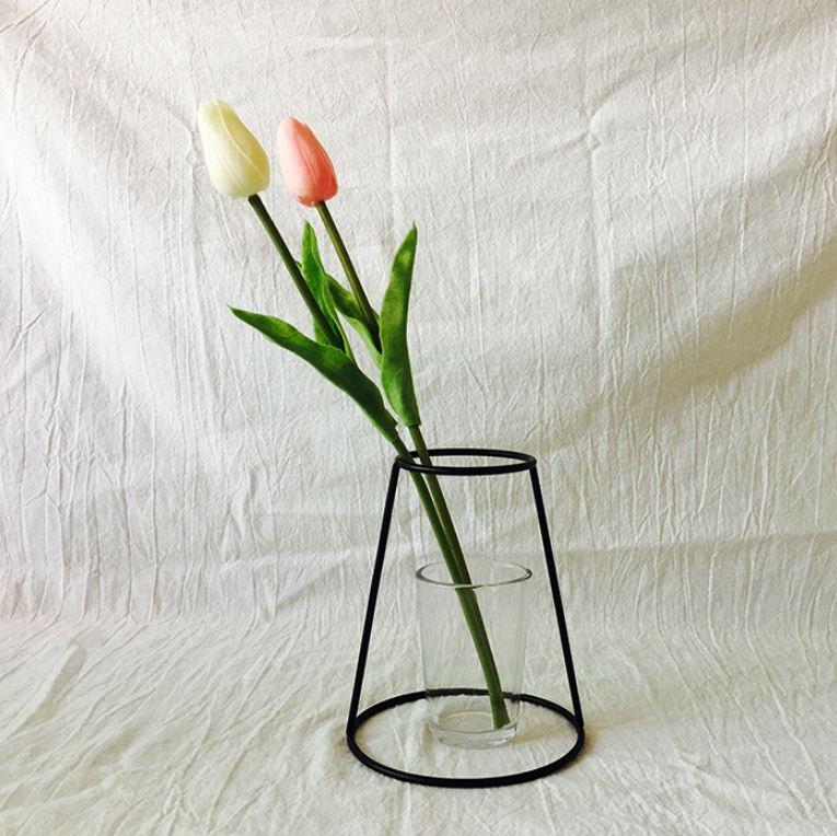 Новая креативная ваза DIY вечерние ваза черный держатель для растений подставка держатель железный провод цветок вазы орнамент жизнь - Цвет: D