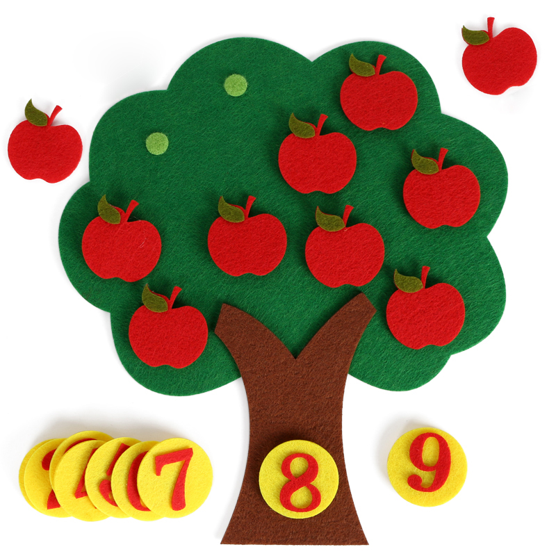 Felt Cloth Montessori Math Toy Apple Tree Learning Intelligence Kindergarten DIY Children Materials Juguetes Montessori