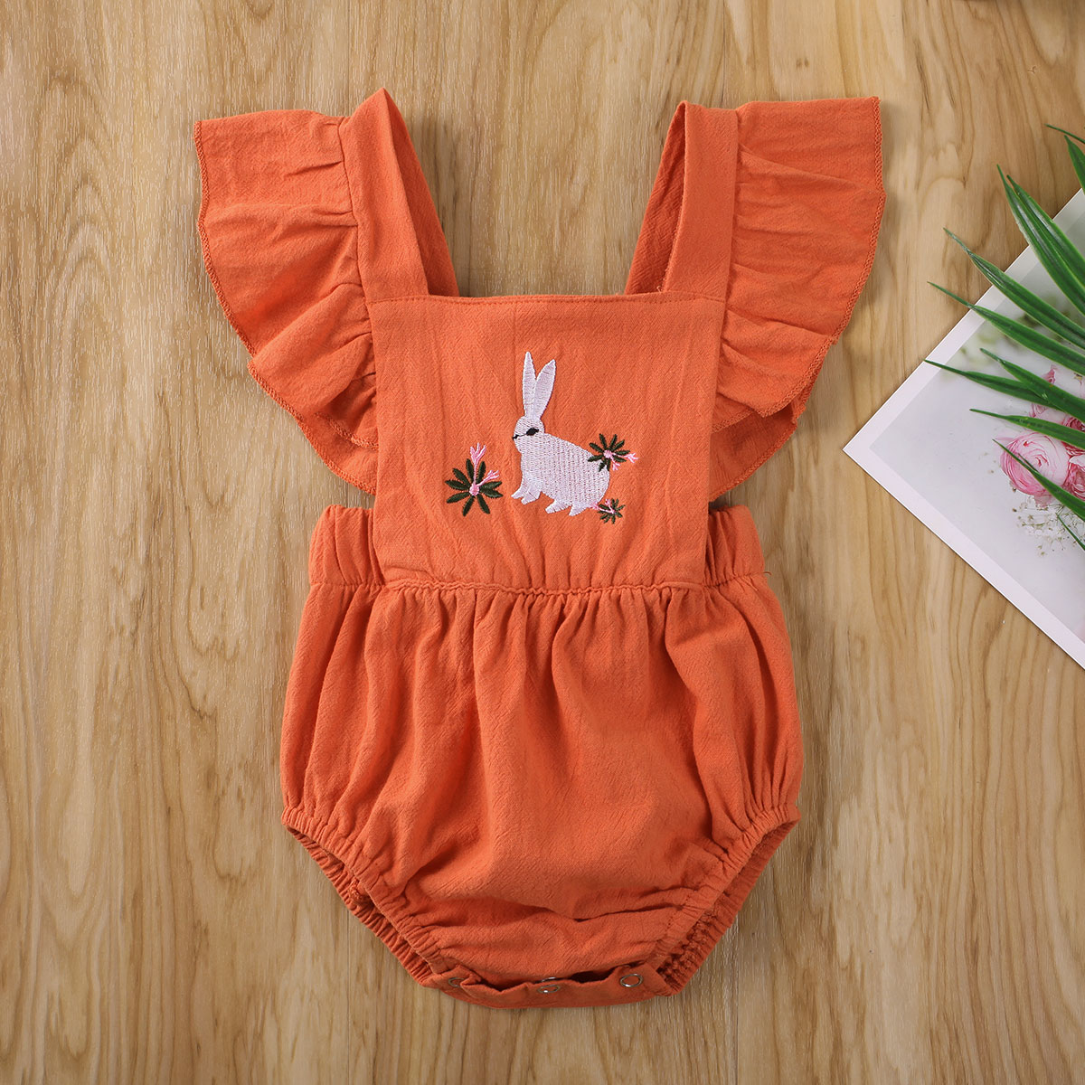 Emmababy Newborn Baby Girl Clothes Solid Color Sleeveless Rabbit Flower Embroidery Romper Jumpsuit One-Piece Outfit Sunsuit