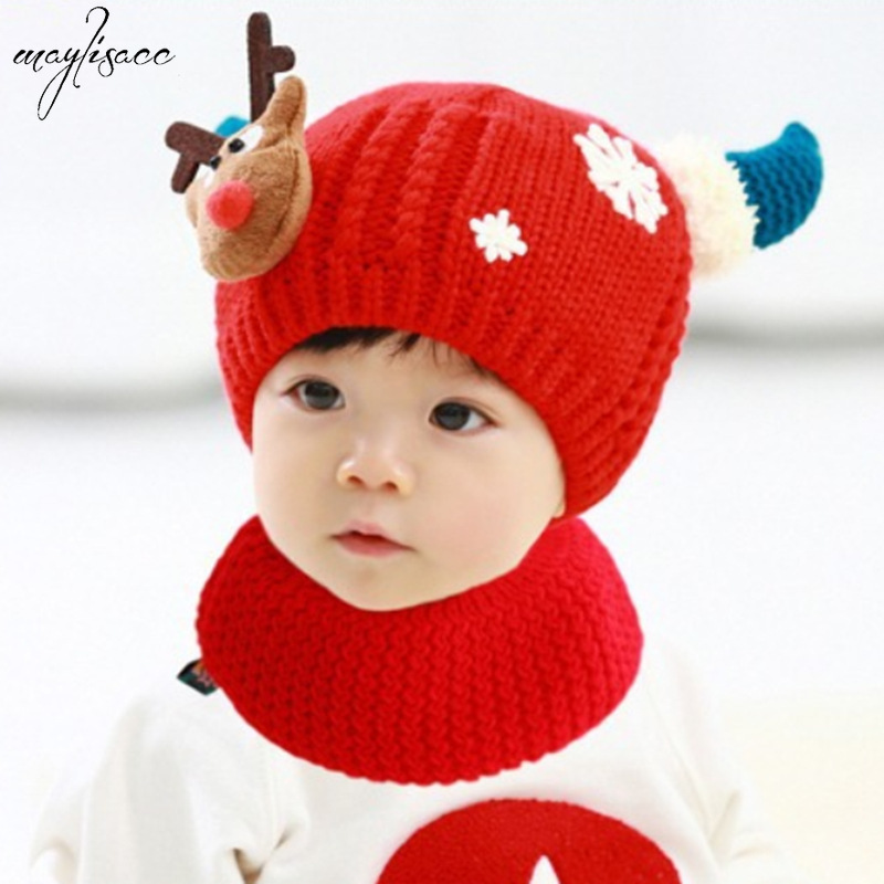 1-3 Years Old Children's Hat Scarf Set Velvet Children's Winter Hat Neck Snood 2 Pcs Set Christmas Elk Pattern Kids Hat Gifts
