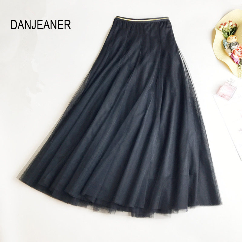 DANJEANER Fashion Spring Long Tulle Skirts Women Black Gray A-Line Mesh Skirt Elastic High Waist Pleated Midi Skirt Jupe Longue