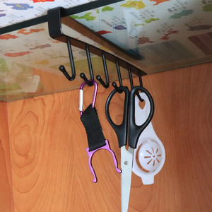 1Pcs Kitchen Hook Rack Multifunction Kitchen Cupboard Cabinet Hanging Rack No Trace Save Space Hook Kitchen Accessories