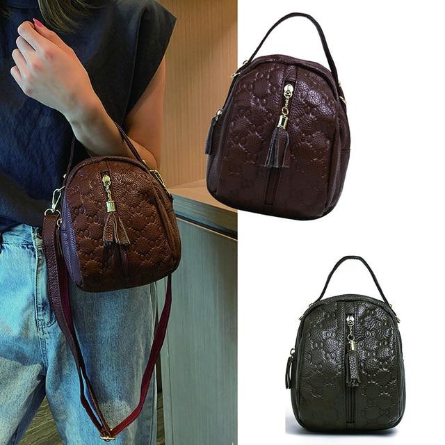 Genuine Leather Crossbody Bags for Women Fashion Female Bag Tassel Single Shoulder Bag Girls Small Purses and Handbags Designer