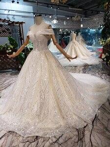 Image 3 - BGW HT43026 2020 חדש חומר חתונת שמלות עם ארוך רכבת כבוי כתף מתוקה יוקרה שמלת כלה עם מבריק פאייטים