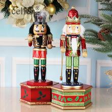 38cm drewniany dziadek do orzechów dziadek do orzechów lalka Puppet Music Box na boże narodzenie w domu dekoracje figurki ozdoby prezenty tanie tanio Ludzi Europa Drewna Household 15*13*36CM