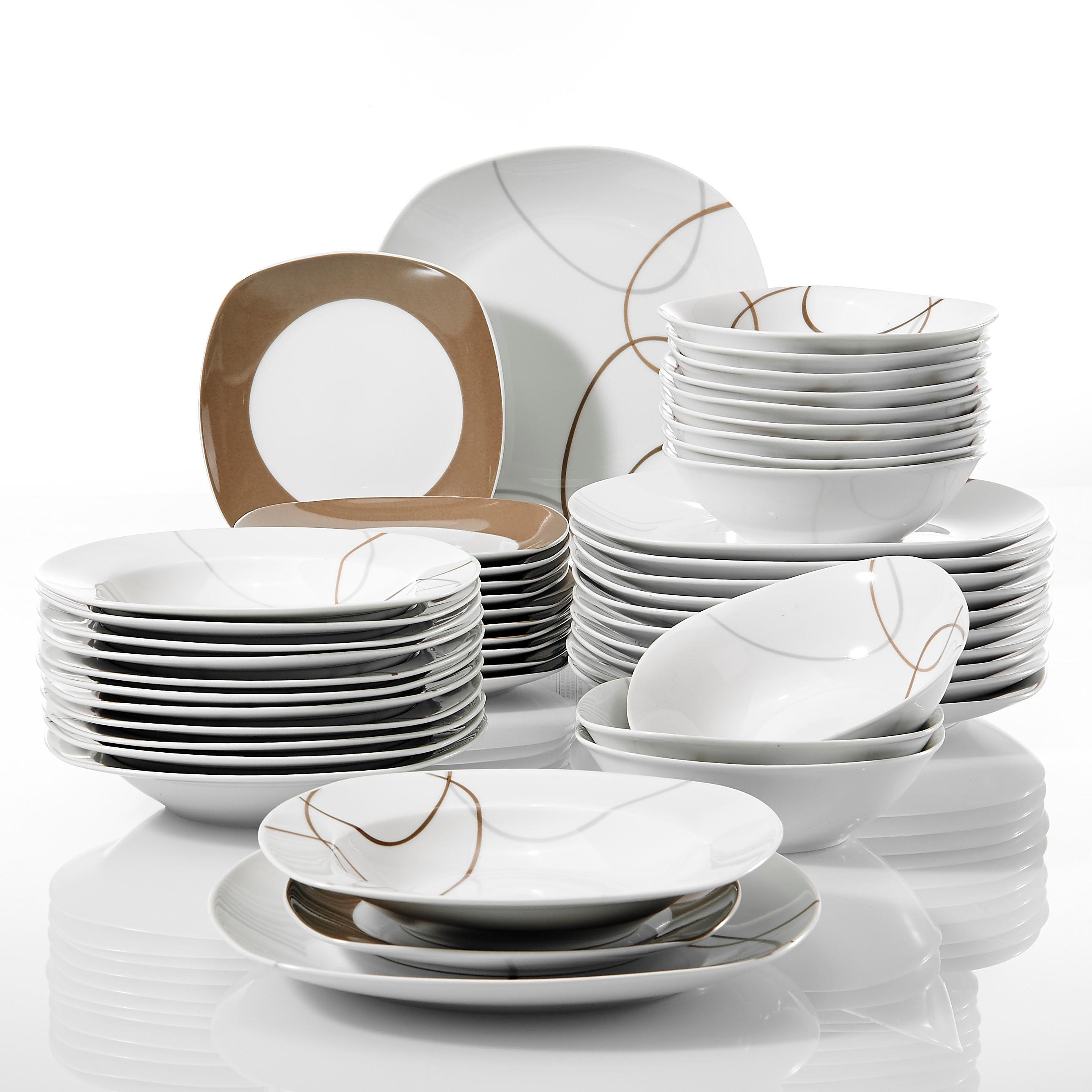 Veweet Nikita 48 Piece Kitchen Dinner Combi Set Porcelain Tableware Plate Set With Bowls Dessert Plate Soup Plates Dinner Plate Dinnerware Sets Aliexpress