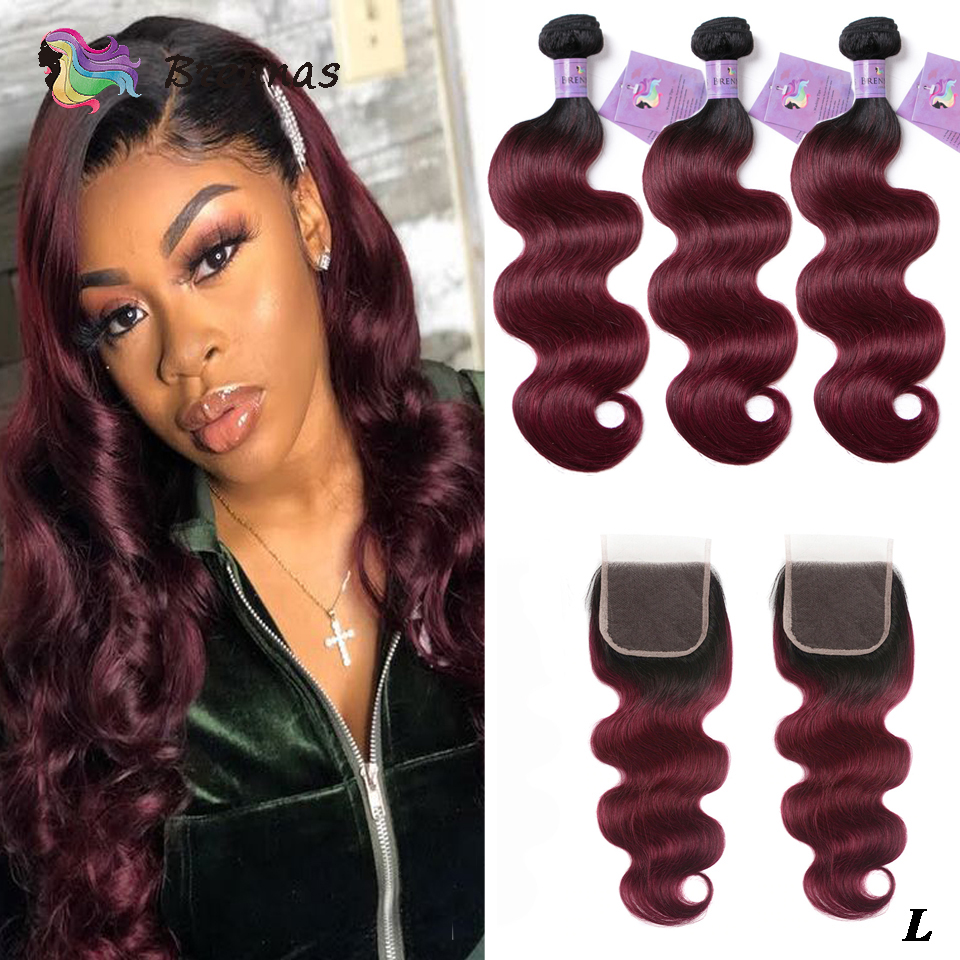 Ombre Hair Bundles With Closure Body Wave Human Hair Bundles With 4x4 Lace Closure Brazilian Human Hair 1B99J Non-Remy Low Ratio