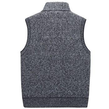2019 Autumn Winter Men's Wool Sweater Vest Thick Warm Casual Sleeveless Jackets Sweatercoat Cashmere Male Knitted Fleece Vest 1