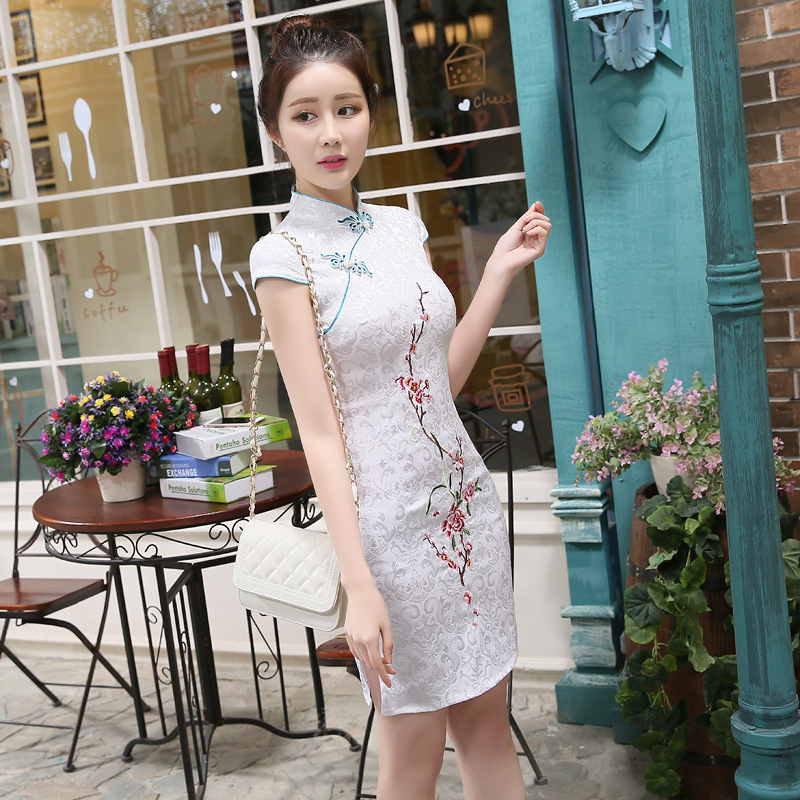Summer New Style WOMEN'S Dress Daily Life Jacquard Cotton Cheongsam Dress Fashionable Retro Embroidery Short Slimming Cheongsam