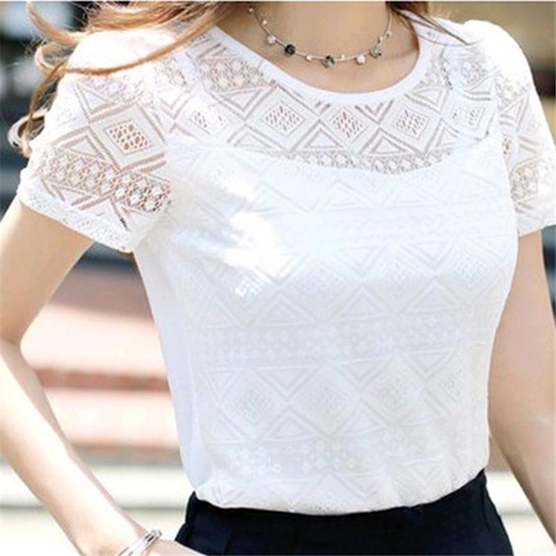 New Women Clothing Chiffon Blouse Lace Crochet Female Korean Shirts Ladies Blusas Tops Shirt White Blouses slim fit Tops