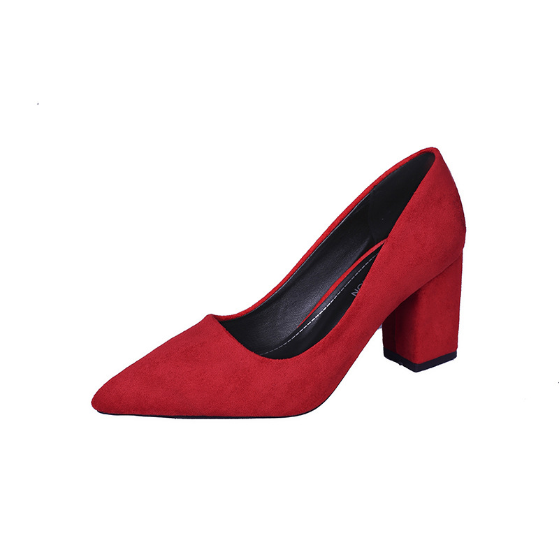 Women'S Summer Suede Leather Wedding Shoes 2019 Autumn New Pointed Woman Party High Heels 3 Types Of Heels Available 5,6,7CM