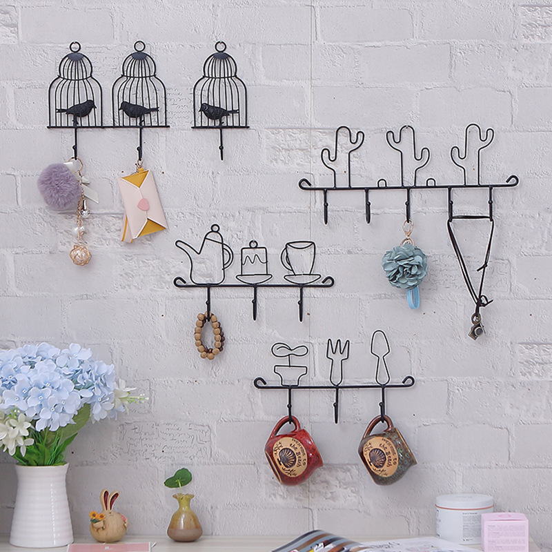 Wall Hooks Hanger Kitchen Black Wrought Iron Wall Hanger Organizer Key Hook  Creative Home Decorative Accessories
