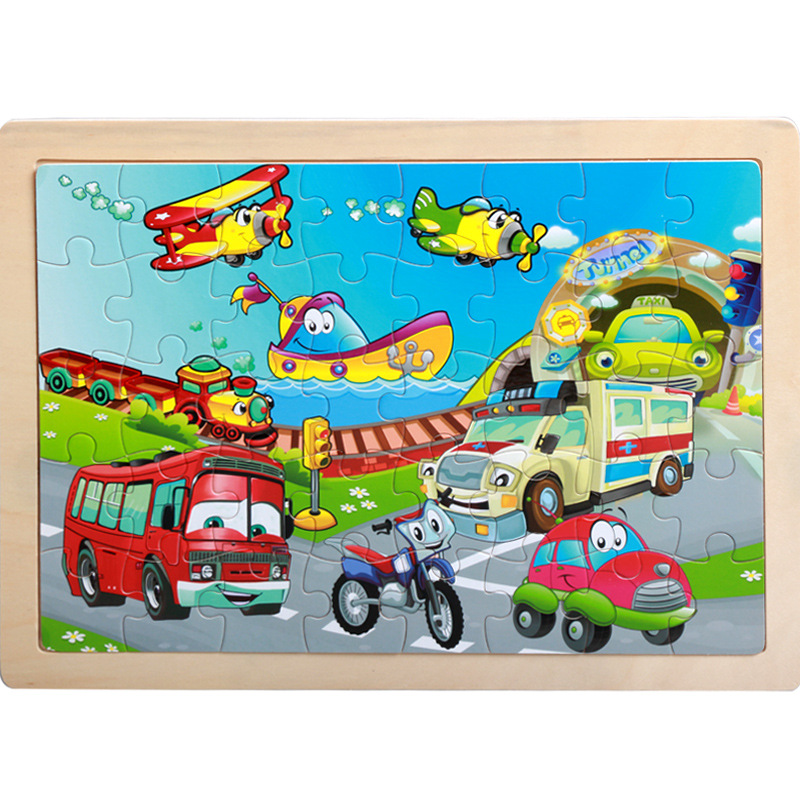 40 Pieces Kids Wooden Puzzle Board Toy Fun Cartoon Animal Jigsaw Boy Girl Baby Early Educational Learning Toys for Children Gift 7