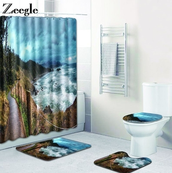 Zeegle Scenic Printed Toilet Bath Mat Set Toilet Pedestal Rug Flannel Washable Absorbent Soft Bath Mat Set Non Slip Bathroom Rug