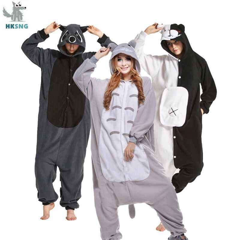 HKSNG Animal Adult Kigurumi Cat Monokuma Bear Onesies Pajamas Shark Cosplay Raccoon Pokemon Costumes  Jumpsuit Christmas Gift